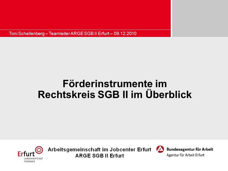 Toni Schellenberg – Teamleiter ARGE SGB II Erfurt – 09.12.2010 Förderinstrumente im Rechtskreis SGB II im Überblick