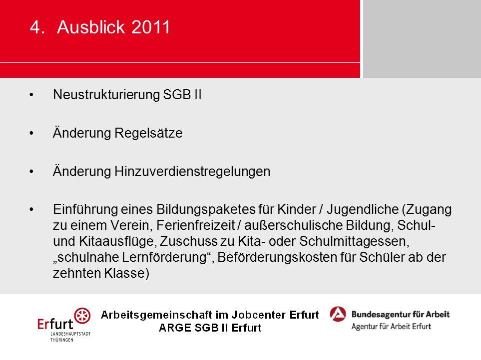 Neustrukturierung SGB II Änderung Regelsätze Änderung Hinzuverdienstregelungen Einführung eines Bildungspaketes für Kinder / Jugendliche (Zugang zu ei