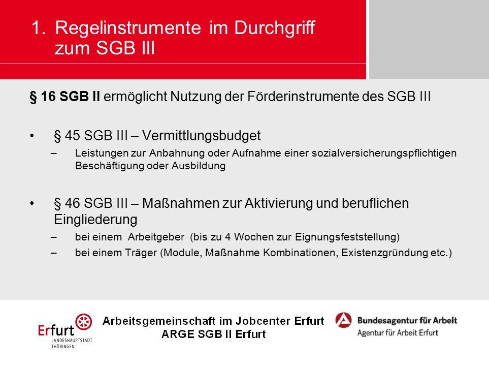 § 16 SGB II ermöglicht Nutzung der Förderinstrumente des SGB III § 45 SGB III – Vermittlungsbudget –Leistungen zur Anbahnung oder Aufnahme einer sozia