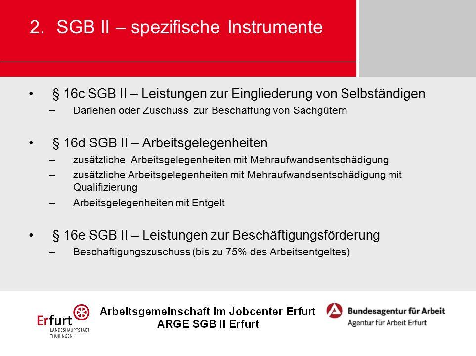 § 16c SGB II – Leistungen zur Eingliederung von Selbständigen –Darlehen oder Zuschuss zur Beschaffung von Sachgütern § 16d SGB II – Arbeitsgelegenheit