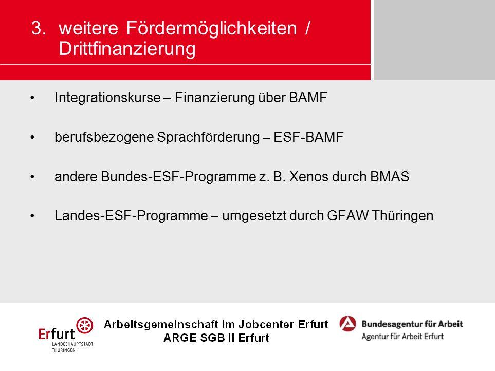 Integrationskurse – Finanzierung über BAMF berufsbezogene Sprachförderung – ESF-BAMF andere Bundes-ESF-Programme z. B. Xenos durch BMAS Landes-ESF-Pro
