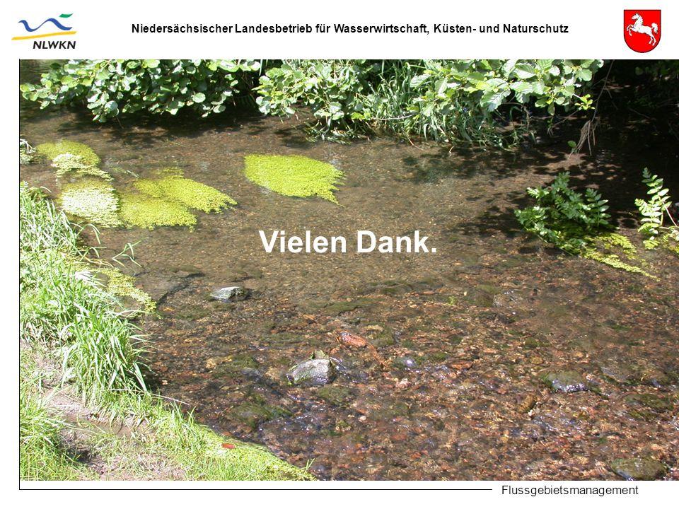 Niedersächsischer Landesbetrieb für Wasserwirtschaft, Küsten- und Naturschutz Flussgebietsmanagement Vielen Dank.
