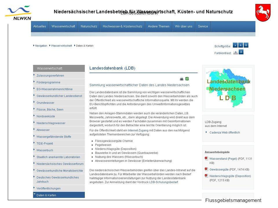 Niedersächsischer Landesbetrieb für Wasserwirtschaft, Küsten- und Naturschutz Flussgebietsmanagement Landesdatenbank