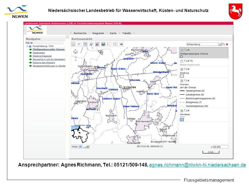 Niedersächsischer Landesbetrieb für Wasserwirtschaft, Küsten- und Naturschutz Flussgebietsmanagement Ansprechpartner: Agnes Richmann, Tel.: 05121/509-148, agnes.richmann@nlwkn-hi.niedersachsen.de agnes.richmann@nlwkn-hi.niedersachsen.de