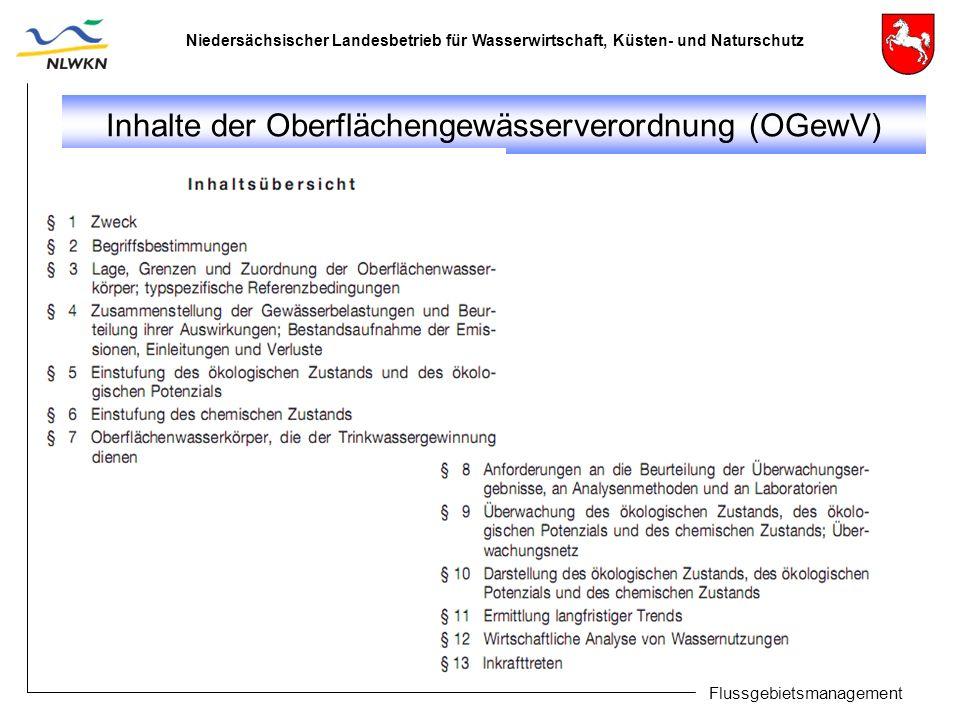 Niedersächsischer Landesbetrieb für Wasserwirtschaft, Küsten- und Naturschutz Flussgebietsmanagement Inhalte der Oberflächengewässerverordnung (OGewV)