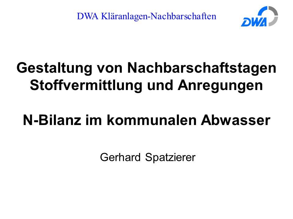DWA Kläranlagen-Nachbarschaften Gestaltung von Nachbarschaftstagen Stoffvermittlung und Anregungen N-Bilanz im kommunalen Abwasser Gerhard Spatzierer