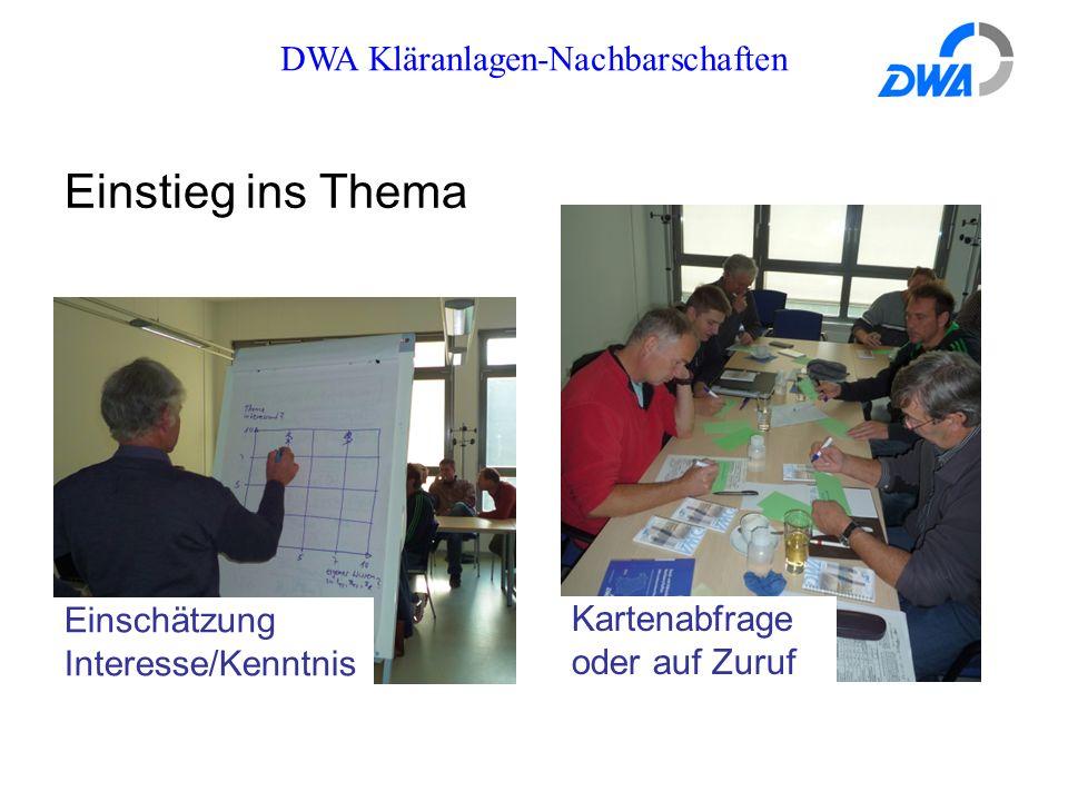 DWA Kläranlagen-Nachbarschaften Kartenabfrage oder auf Zuruf Einschätzung Interesse/Kenntnis Einstieg ins Thema