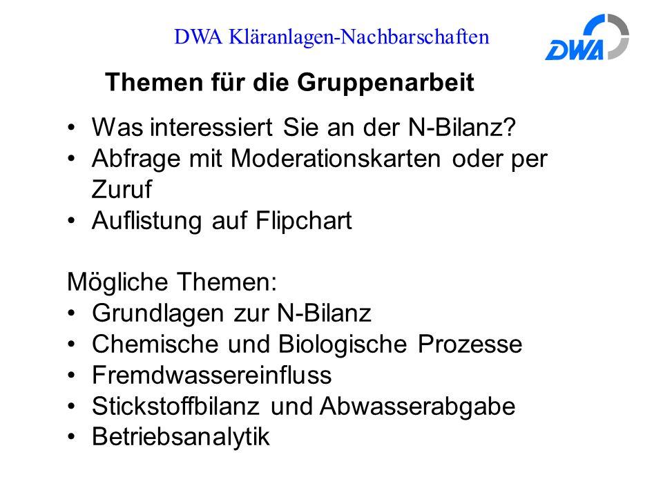 DWA Kläranlagen-Nachbarschaften Themen für die Gruppenarbeit Was interessiert Sie an der N-Bilanz? Abfrage mit Moderationskarten oder per Zuruf Auflis