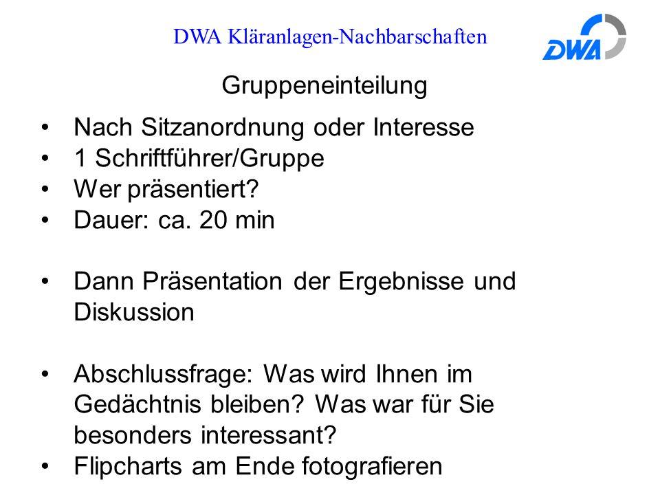 DWA Kläranlagen-Nachbarschaften Gruppeneinteilung Nach Sitzanordnung oder Interesse 1 Schriftführer/Gruppe Wer präsentiert.