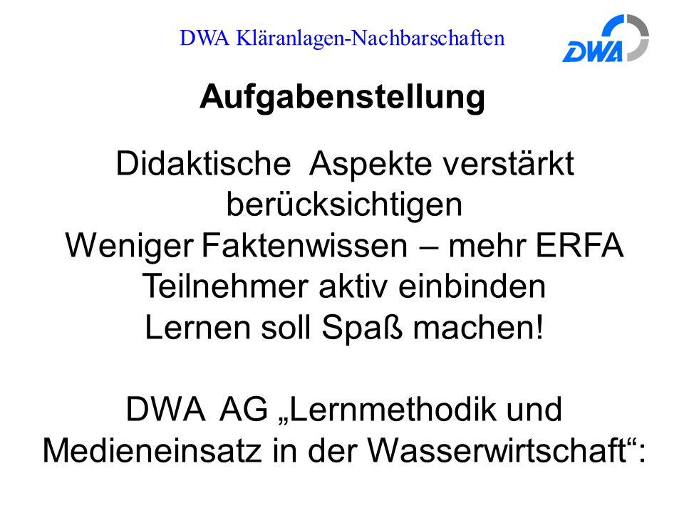 DWA Kläranlagen-Nachbarschaften Aufgabenstellung Didaktische Aspekte verstärkt berücksichtigen Weniger Faktenwissen – mehr ERFA Teilnehmer aktiv einbi