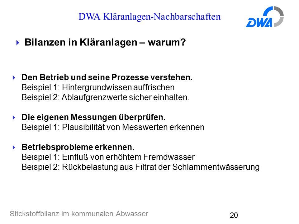 DWA Kläranlagen-Nachbarschaften Stickstoffbilanz im kommunalen Abwasser 20  Bilanzen in Kläranlagen – warum?  Den Betrieb und seine Prozesse versteh