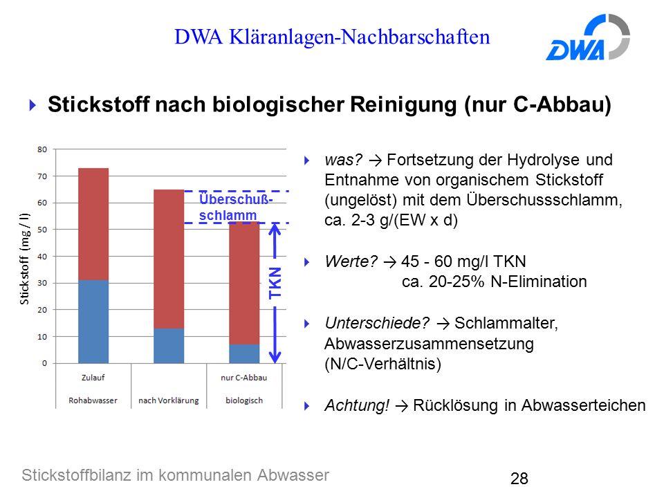 DWA Kläranlagen-Nachbarschaften Stickstoffbilanz im kommunalen Abwasser 28  Stickstoff nach biologischer Reinigung (nur C-Abbau)  was? → Fortsetzung