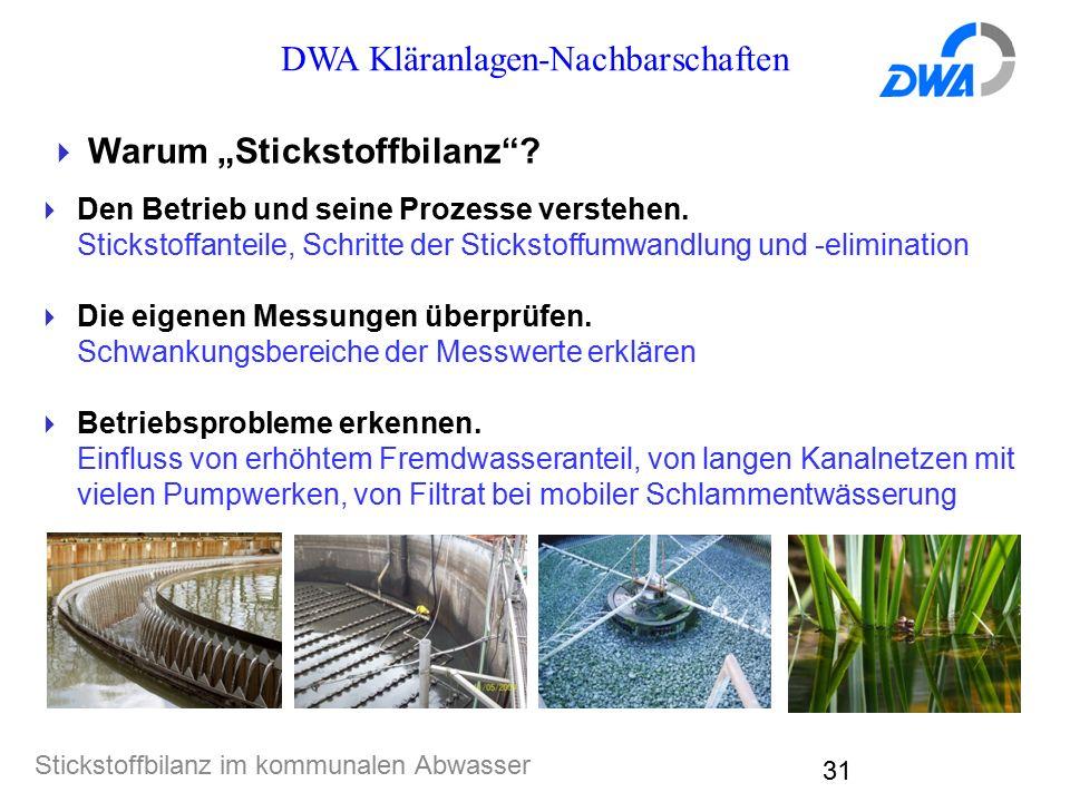 """DWA Kläranlagen-Nachbarschaften Stickstoffbilanz im kommunalen Abwasser 31  Warum """"Stickstoffbilanz""""?  Den Betrieb und seine Prozesse verstehen. Sti"""