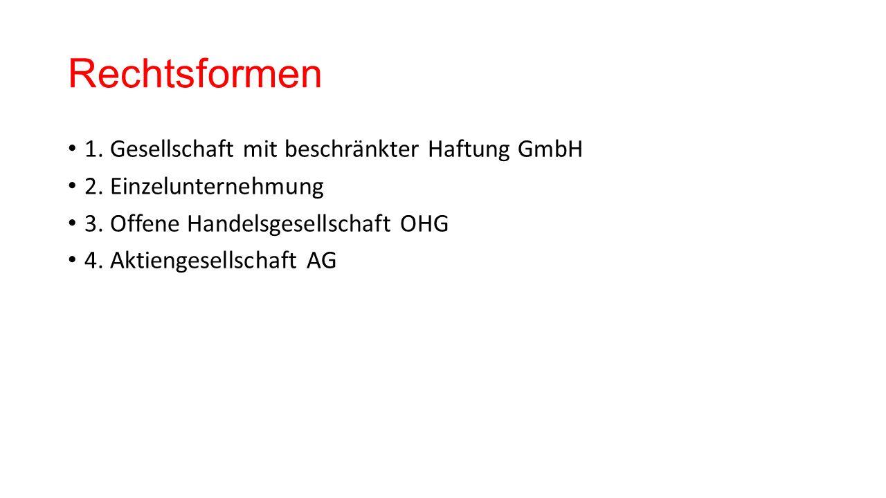 Rechtsformen 1. Gesellschaft mit beschränkter Haftung GmbH 2.