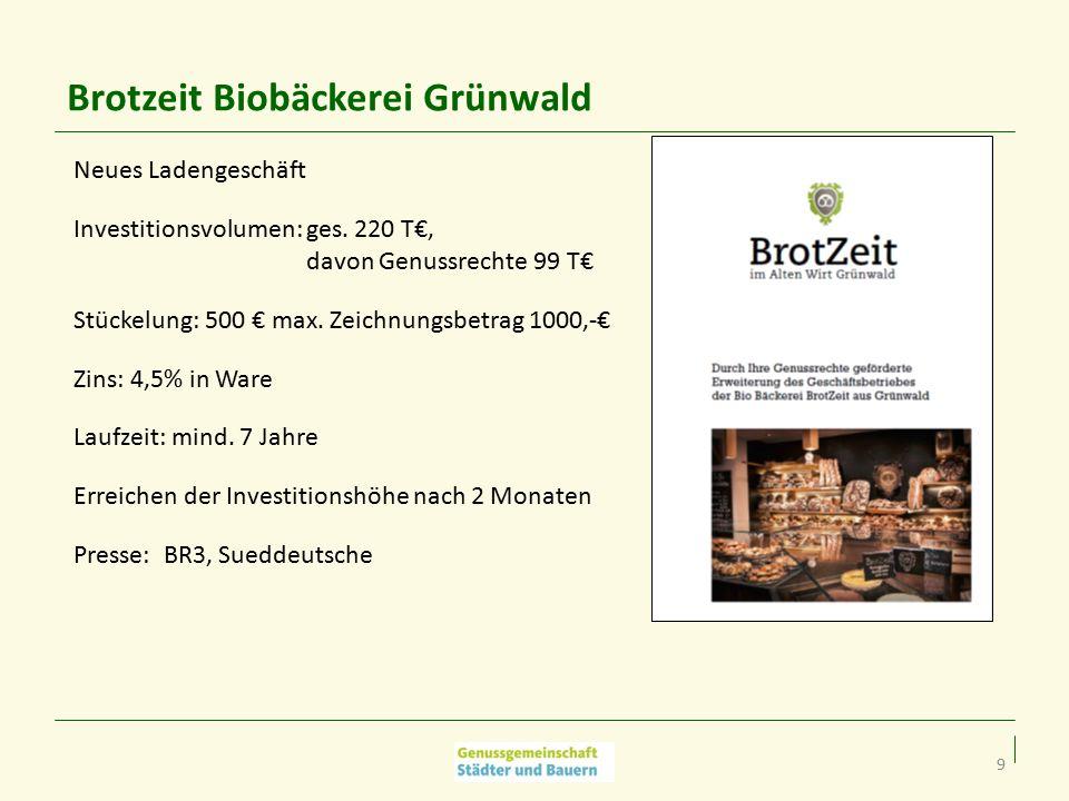 9 Brotzeit Biobäckerei Grünwald Neues Ladengeschäft Investitionsvolumen: ges.