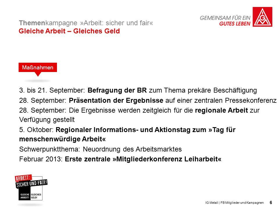 6 3. bis 21. September: Befragung der BR zum Thema prekäre Beschäftigung 28.
