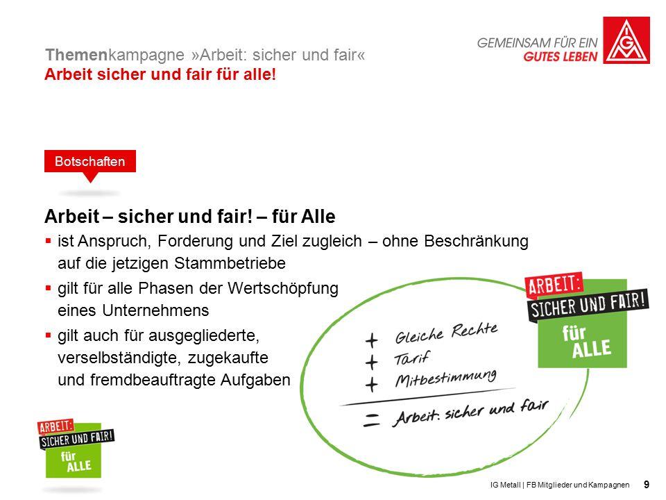 9 Themenkampagne »Arbeit: sicher und fair« Arbeit sicher und fair für alle.