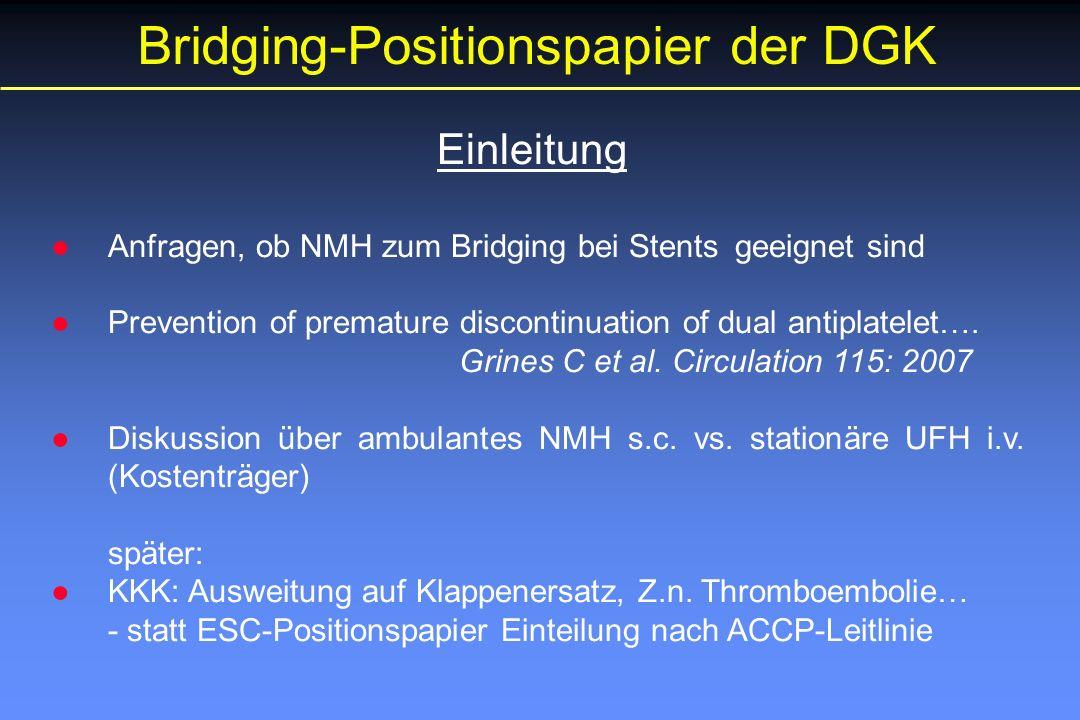 Bridging-Positionspapier der DGK Einleitung ●Anfragen, ob NMH zum Bridging bei Stents geeignet sind ●Prevention of premature discontinuation of dual antiplatelet….