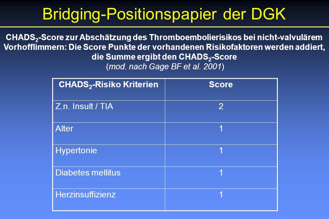 Bridging-Positionspapier der DGK CHADS 2 -Score zur Abschätzung des Thromboembolierisikos bei nicht-valvulärem Vorhofflimmern: Die Score Punkte der vorhandenen Risikofaktoren werden addiert, die Summe ergibt den CHADS 2 -Score (mod.