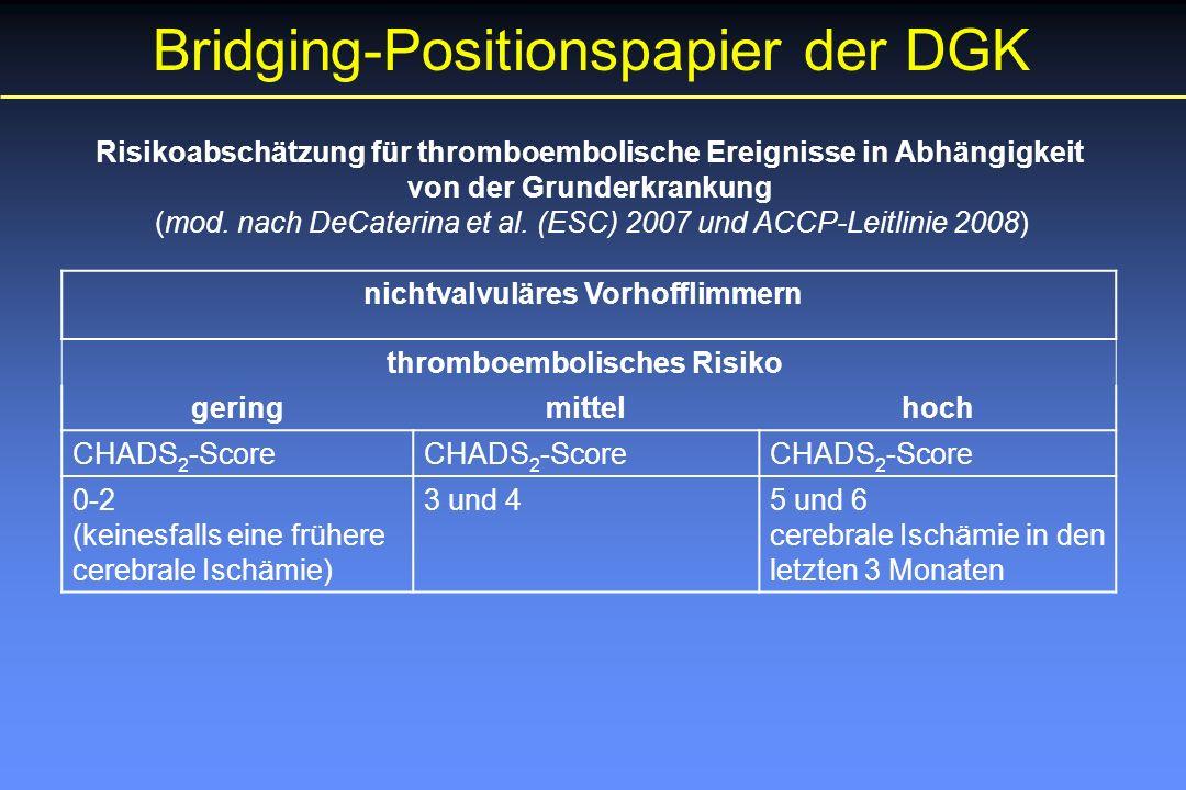 Bridging-Positionspapier der DGK Risikoabschätzung für thromboembolische Ereignisse in Abhängigkeit von der Grunderkrankung (mod.