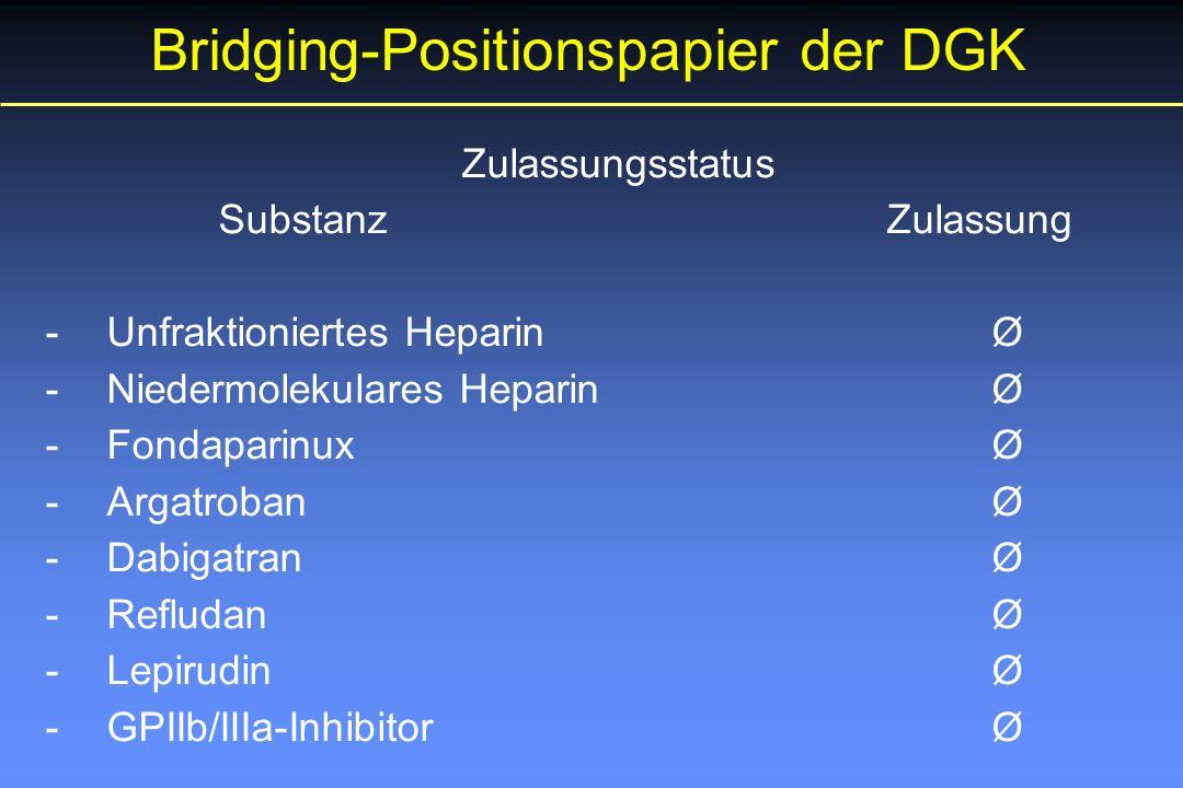 Zulassungsstatus Substanz Zulassung - Unfraktioniertes HeparinØ - Niedermolekulares HeparinØ - FondaparinuxØ - ArgatrobanØ - DabigatranØ - RefludanØ - LepirudinØ - GPIIb/IIIa-InhibitorØ Bridging-Positionspapier der DGK