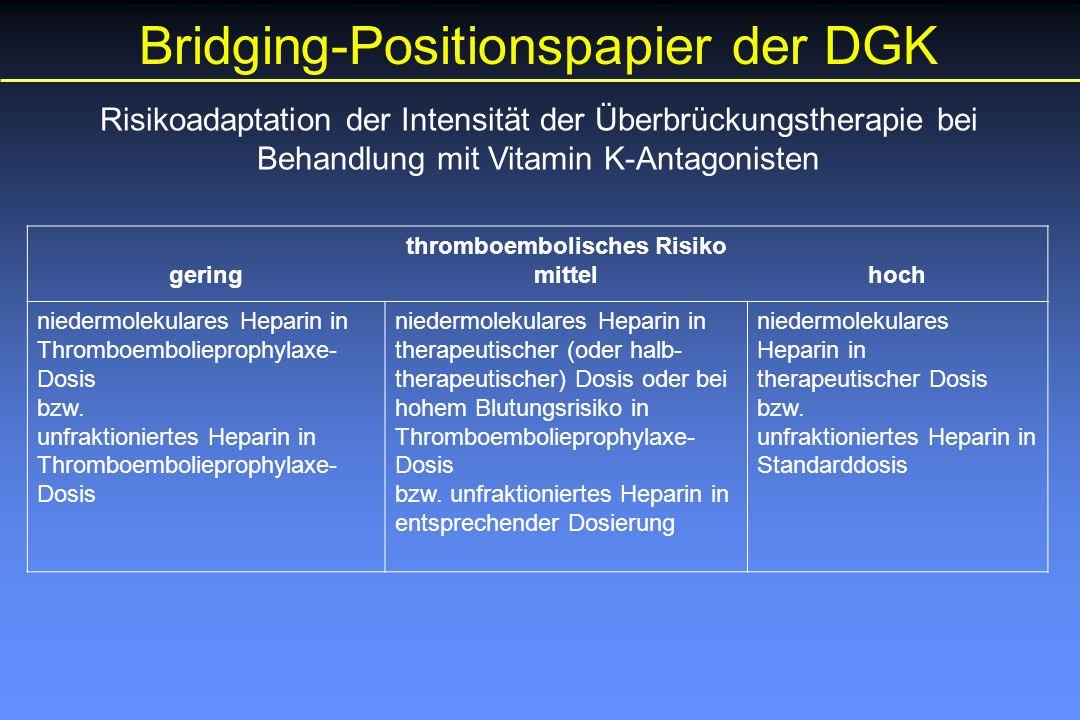 Risikoadaptation der Intensität der Überbrückungstherapie bei Behandlung mit Vitamin K-Antagonisten gering thromboembolisches Risiko mittelhoch niedermolekulares Heparin in Thromboembolieprophylaxe- Dosis bzw.