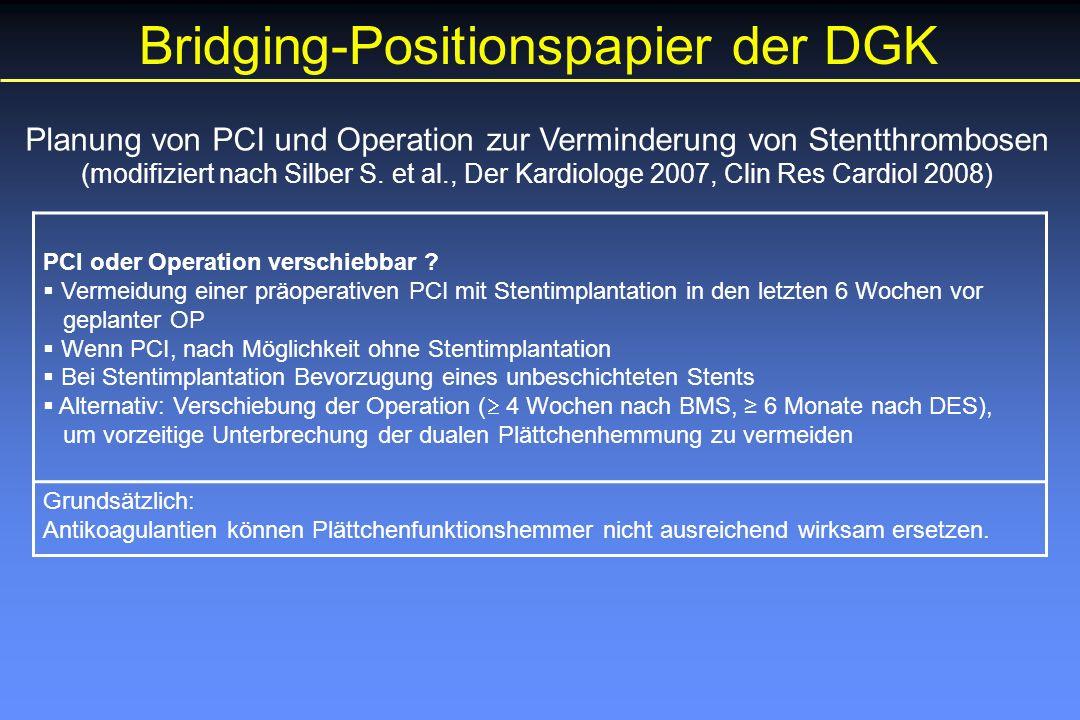 Planung von PCI und Operation zur Verminderung von Stentthrombosen (modifiziert nach Silber S.