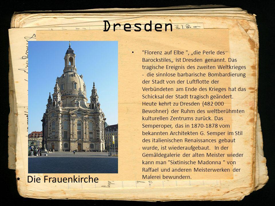 """Dresden Die Frauenkirche Florenz auf Elbe , """"die Perle des Barockstiles"""" ist Dresden genannt."""