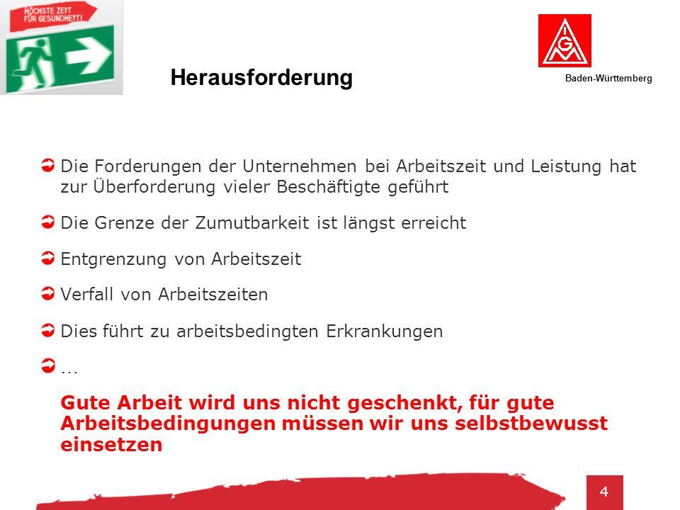Baden-Württemberg 5 Arbeitsschutzgesetz § 5 Beurteilung der Arbeitsbedingungen Eine Gefährdung kann sich insbesondere ergeben durch: 1.