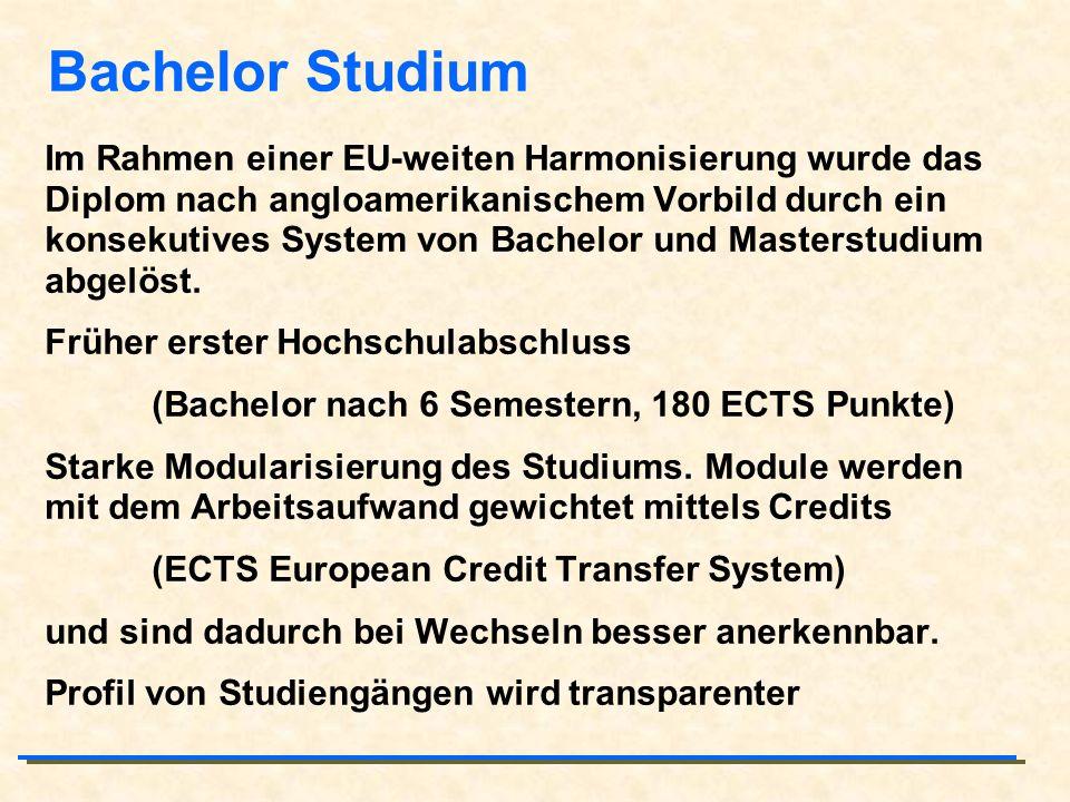 Bachelor Studium Im Rahmen einer EU-weiten Harmonisierung wurde das Diplom nach angloamerikanischem Vorbild durch ein konsekutives System von Bachelor
