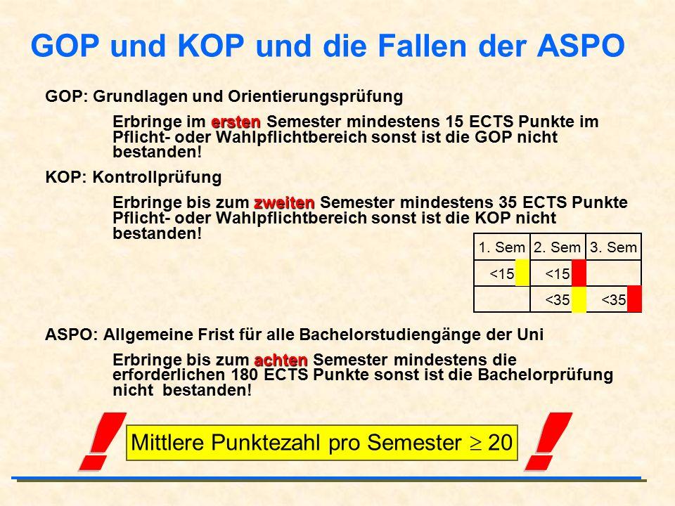 GOP und KOP und die Fallen der ASPO GOP: Grundlagen und Orientierungsprüfung ersten Erbringe im ersten Semester mindestens 15 ECTS Punkte im Pflicht- oder Wahlpflichtbereich sonst ist die GOP nicht bestanden.