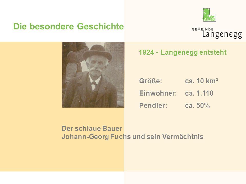 Die besondere Geschichte 1924 - Langenegg entsteht Der schlaue Bauer Johann-Georg Fuchs und sein Vermächtnis Größe:ca. 10 km² Einwohner:ca. 1.110 Pend