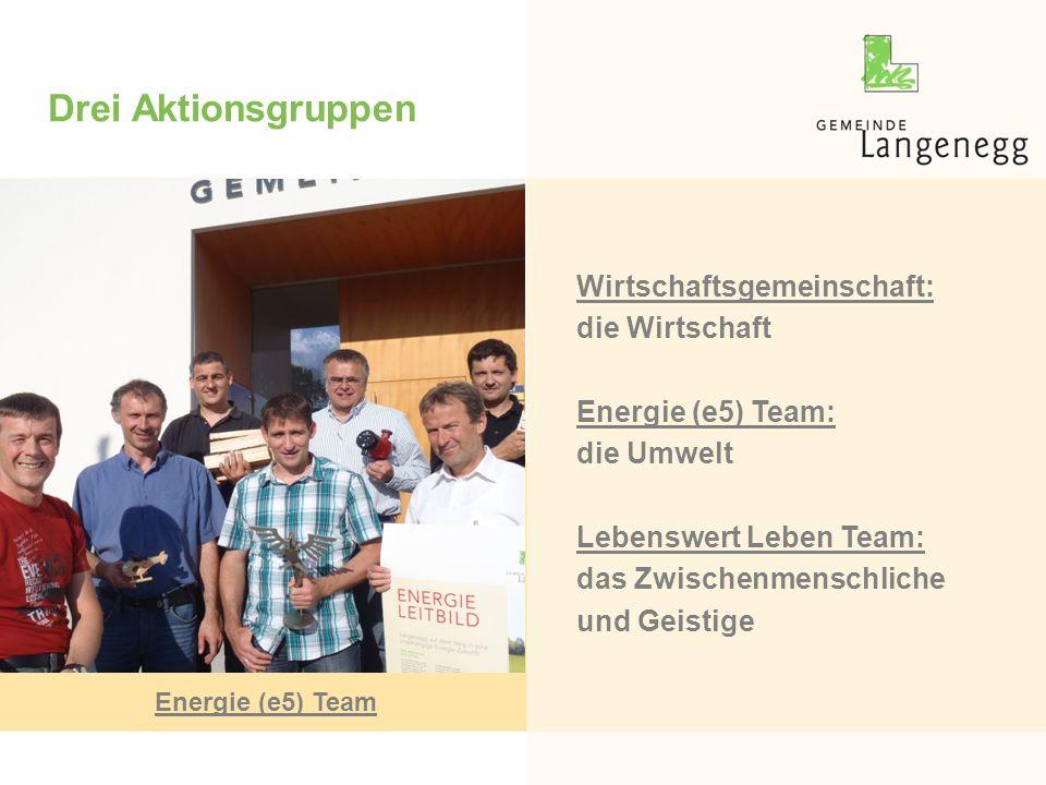 Drei Aktionsgruppen Wirtschaftsgemeinschaft: die Wirtschaft Energie (e5) Team: die Umwelt Lebenswert Leben Team: das Zwischenmenschliche und Geistige Energie (e5) Team