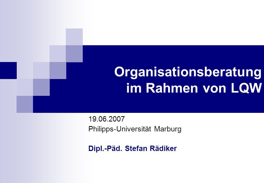 Organisationsberatung im Rahmen von LQW 19.06.2007 Philipps-Universität Marburg Dipl.-Päd.