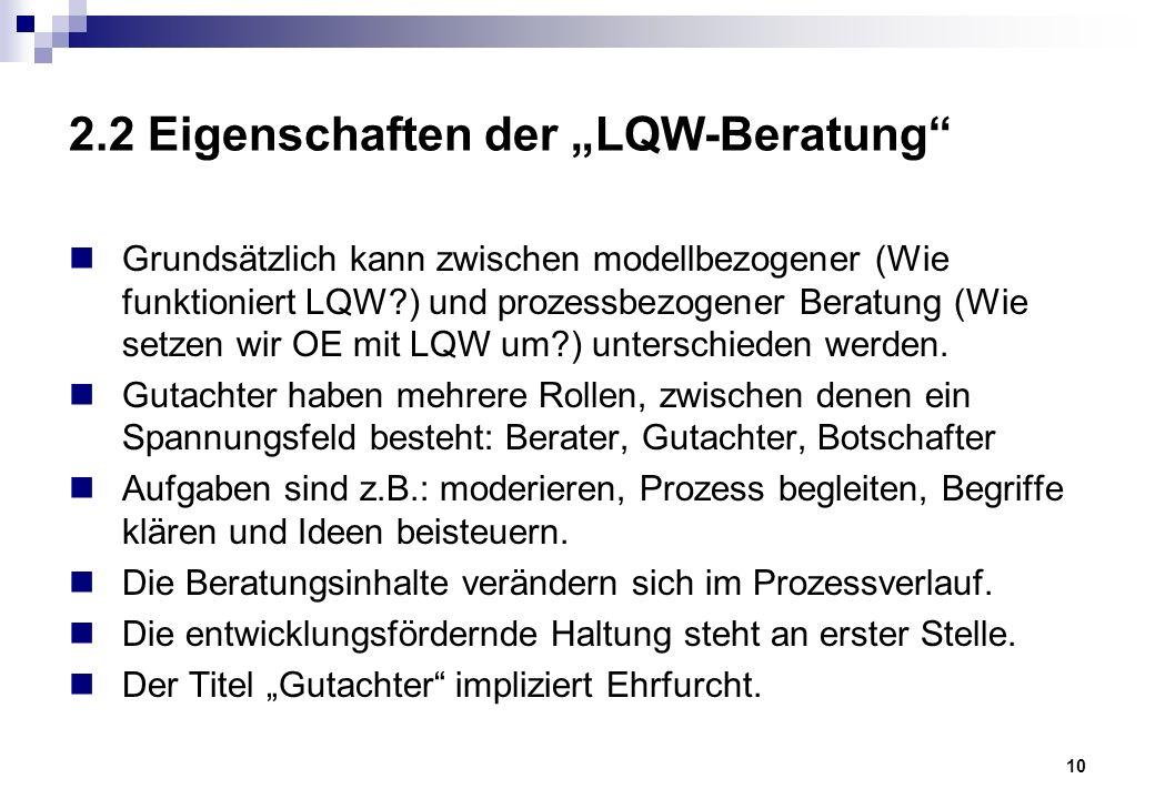 """10 2.2 Eigenschaften der """"LQW-Beratung Grundsätzlich kann zwischen modellbezogener (Wie funktioniert LQW ) und prozessbezogener Beratung (Wie setzen wir OE mit LQW um ) unterschieden werden."""