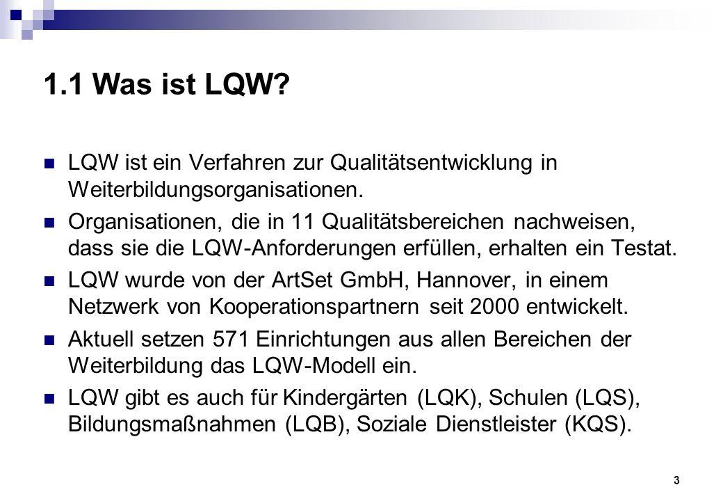 3 1.1 Was ist LQW. LQW ist ein Verfahren zur Qualitätsentwicklung in Weiterbildungsorganisationen.