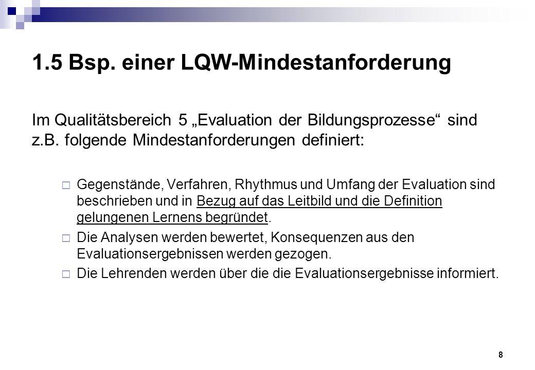 """9 2.1 Beratungsanlässe im LQW-Prozess Entscheidungshilfe für ein Qualitätsverfahren Einführungsworkshop: Einführung in das LQW-Modell Moderation der Leitbilderstellung Unterstützung beim Schreiben des Selbstreports, """"Vorbegutachtung des Selbstreports mit Feedback Moderation von Vernetzung zw."""