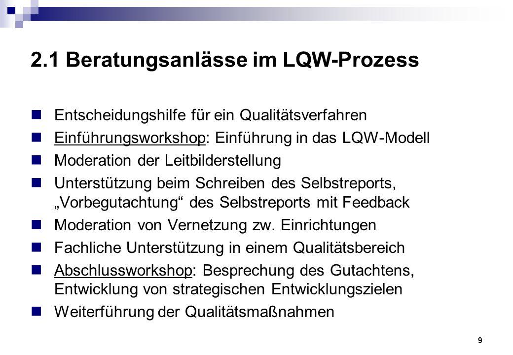 """10 2.2 Eigenschaften der """"LQW-Beratung Grundsätzlich kann zwischen modellbezogener (Wie funktioniert LQW?) und prozessbezogener Beratung (Wie setzen wir OE mit LQW um?) unterschieden werden."""