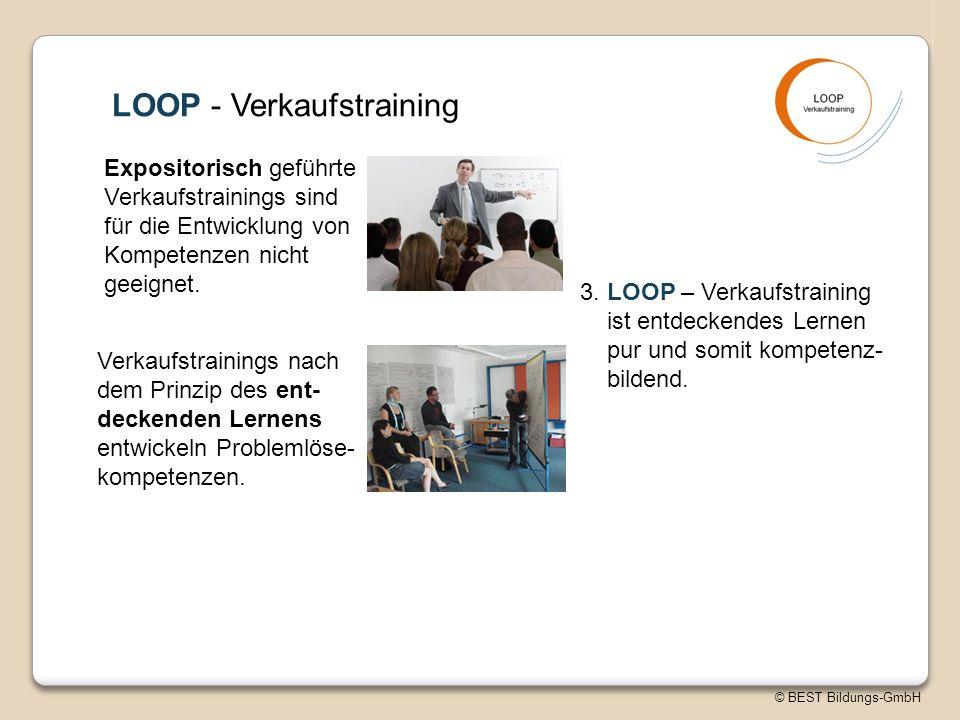 © BEST Bildungs-GmbH LOOP - Verkaufstraining Expositorisch geführte Verkaufstrainings sind für die Entwicklung von Kompetenzen nicht geeignet.