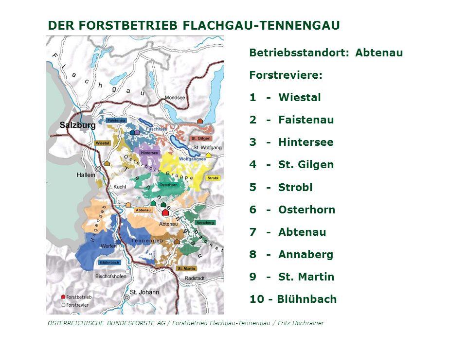 ÖSTERREICHISCHE BUNDESFORSTE AG / Forstbetrieb Flachgau-Tennengau / Fritz Hochrainer DER FORSTBETRIEB FLACHGAU-TENNENGAU Betriebsstandort: Abtenau Forstreviere: 1 - Wiestal 2 - Faistenau 3 - Hintersee 4 - St.