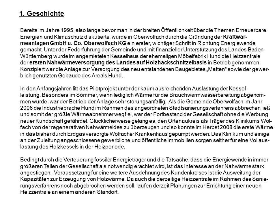 Bereits im Jahre 1995, also lange bevor man in der breiten Öffentlichkeit über die Themen Erneuerbare Energien und Klimaschutz diskutierte, wurde in Oberwolfach durch die Gründung der Kraftwär- meanlagen GmbH u.
