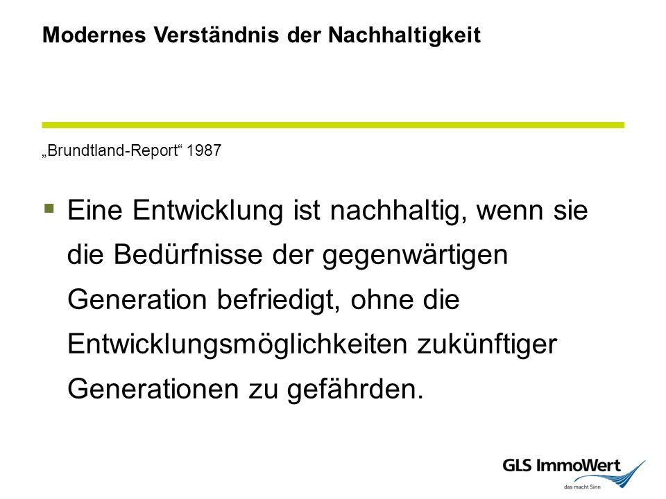 """Modernes Verständnis der Nachhaltigkeit """"Brundtland-Report 1987  Eine Entwicklung ist nachhaltig, wenn sie die Bedürfnisse der gegenwärtigen Generation befriedigt, ohne die Entwicklungsmöglichkeiten zukünftiger Generationen zu gefährden."""