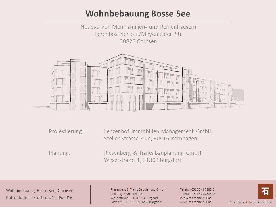 Wohnbebauung Bosse See Neubau von Mehrfamilien- und Reihenhäusern Berenbosteler Str./Meyenfelder Str.