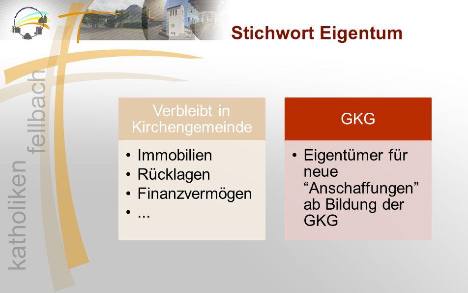 """Stichwort Eigentum Verbleibt in Kirchengemeinde Immobilien Rücklagen Finanzvermögen... GKG Eigentümer für neue """"Anschaffungen"""" ab Bildung der GKG"""