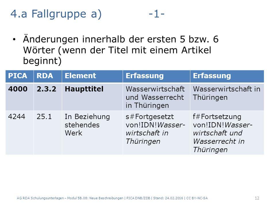 AG RDA Schulungsunterlagen – Modul 5B.08: Neue Beschreibungen | PICA DNB/ZDB | Stand: 24.02.2016 | CC BY-NC-SA 12 PICARDAElementErfassung 40002.3.2HaupttitelWasserwirtschaft und Wasserrecht in Thüringen Wasserwirtschaft in Thüringen 424425.1In Beziehung stehendes Werk s#Fortgesetzt von!IDN!Wasser- wirtschaft in Thüringen f#Fortsetzung von!IDN!Wasser- wirtschaft und Wasserrecht in Thüringen 4.a Fallgruppe a)-1- Änderungen innerhalb der ersten 5 bzw.