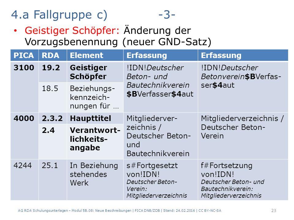 AG RDA Schulungsunterlagen – Modul 5B.08: Neue Beschreibungen | PICA DNB/ZDB | Stand: 24.02.2016 | CC BY-NC-SA 23 4.a Fallgruppe c)-3- Geistiger Schöp