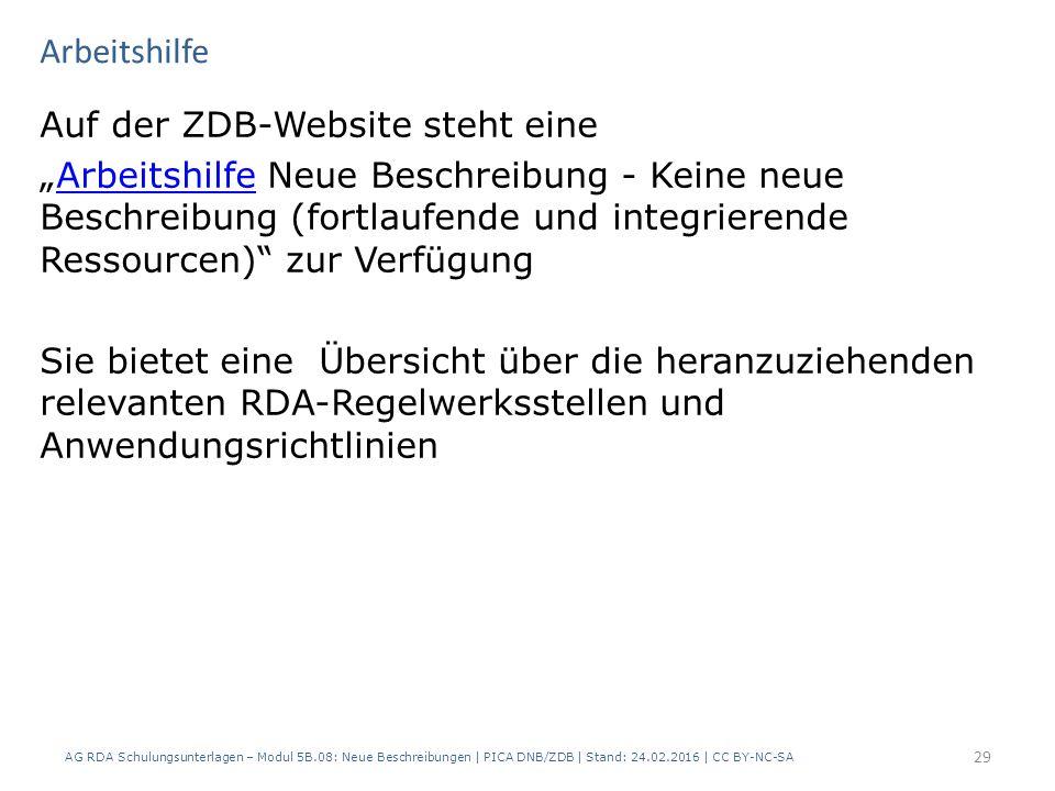 """Arbeitshilfe Auf der ZDB-Website steht eine """"Arbeitshilfe Neue Beschreibung - Keine neue Beschreibung (fortlaufende und integrierende Ressourcen)"""" zur"""