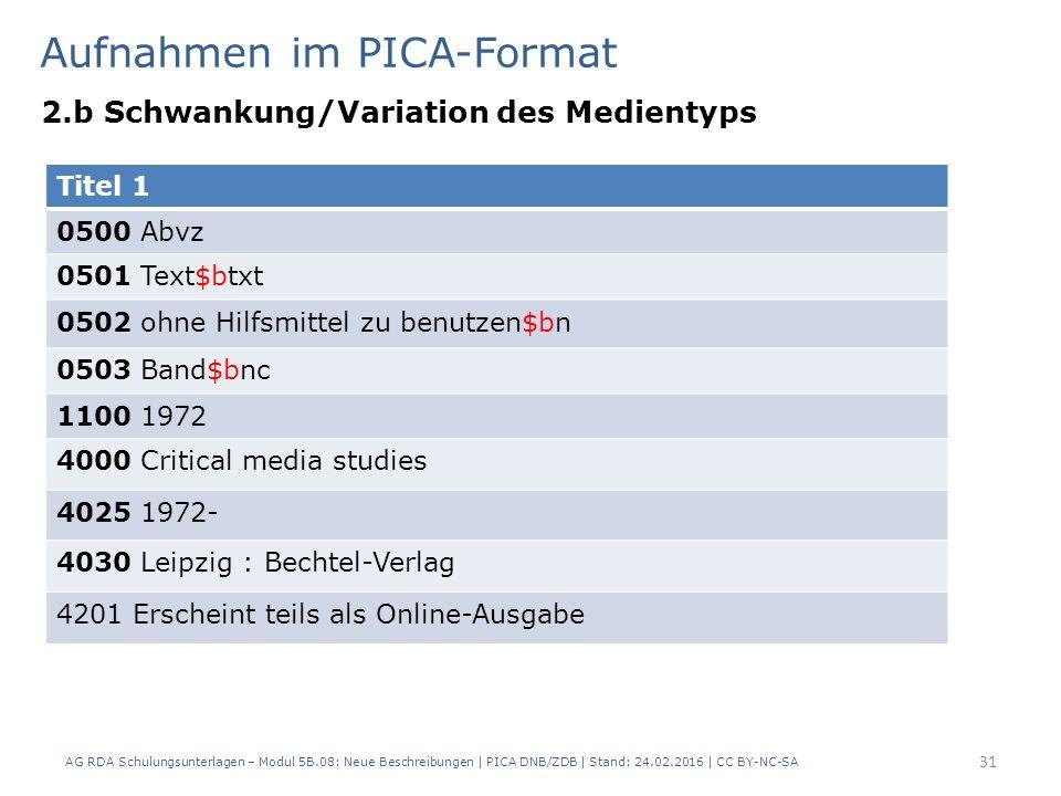 Aufnahmen im PICA-Format 2.b Schwankung/Variation des Medientyps AG RDA Schulungsunterlagen – Modul 5B.08: Neue Beschreibungen | PICA DNB/ZDB | Stand: 24.02.2016 | CC BY-NC-SA 31 Titel 1 0500 Abvz 0501 Text$btxt 0502 ohne Hilfsmittel zu benutzen$bn 0503 Band$bnc 1100 1972 4000 Critical media studies 4025 1972- 4030 Leipzig : Bechtel-Verlag 4201 Erscheint teils als Online-Ausgabe