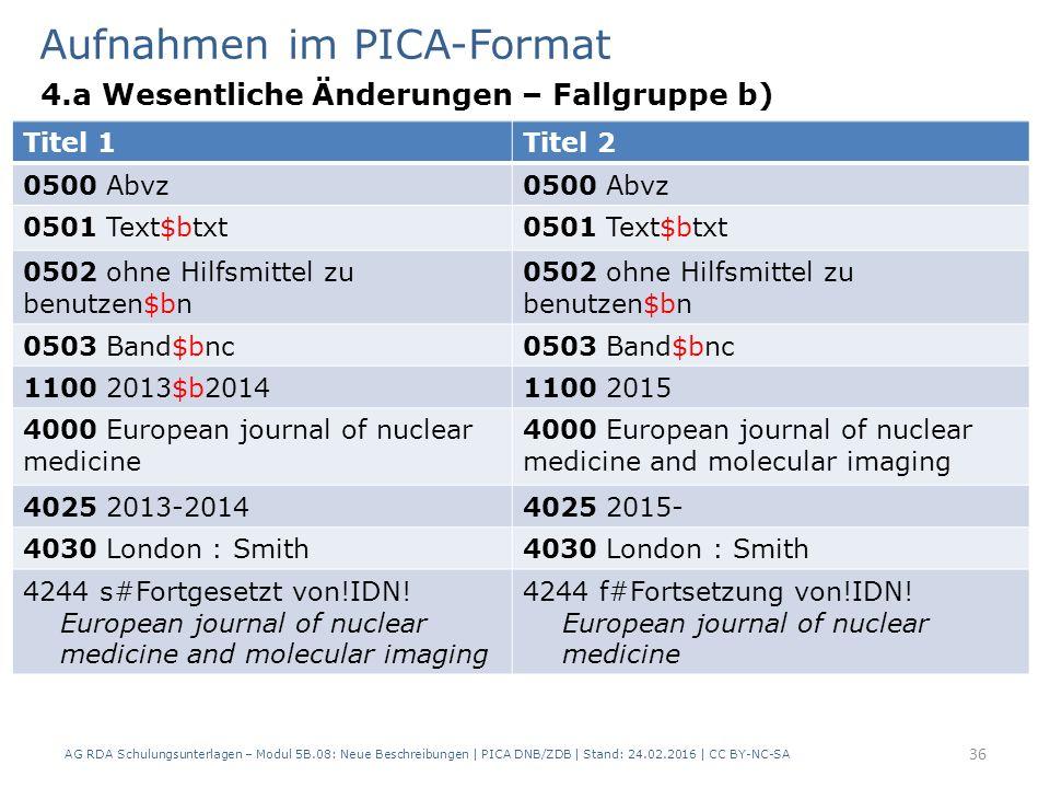 Aufnahmen im PICA-Format 4.a Wesentliche Änderungen – Fallgruppe b) AG RDA Schulungsunterlagen – Modul 5B.08: Neue Beschreibungen | PICA DNB/ZDB | Stand: 24.02.2016 | CC BY-NC-SA 36 Titel 1Titel 2 0500 Abvz 0501 Text$btxt 0502 ohne Hilfsmittel zu benutzen$bn 0503 Band$bnc 1100 2013$b20141100 2015 4000 European journal of nuclear medicine 4000 European journal of nuclear medicine and molecular imaging 4025 2013-20144025 2015- 4030 London : Smith 4244 s#Fortgesetzt von!IDN.