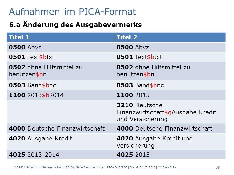 Aufnahmen im PICA-Format 6.a Änderung des Ausgabevermerks AG RDA Schulungsunterlagen – Modul 5B.08: Neue Beschreibungen | PICA DNB/ZDB | Stand: 24.02.